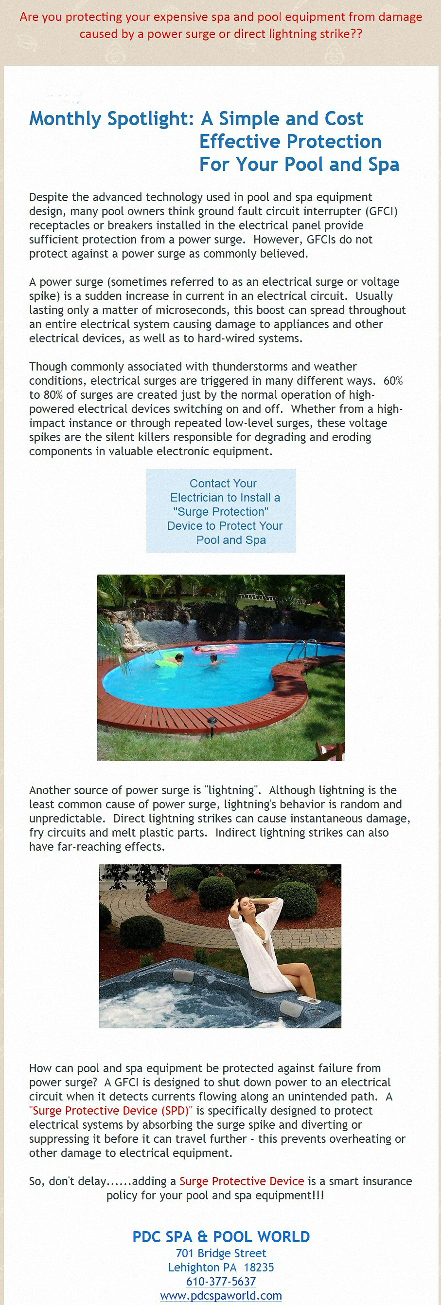 Pool with current to swim against - Pool Electrical Safety